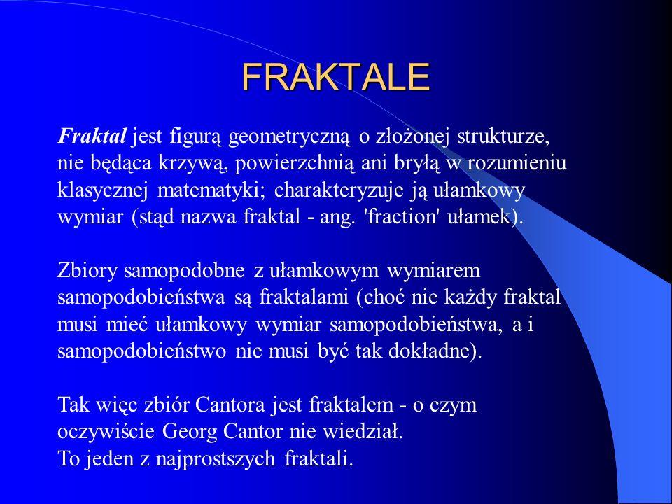 FRAKTALE Fraktal jest figurą geometryczną o złożonej strukturze, nie będąca krzywą, powierzchnią ani bryłą w rozumieniu klasycznej matematyki; charakt
