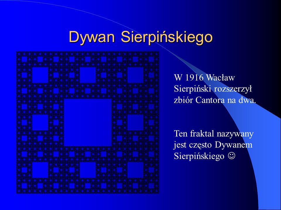Dywan Sierpińskiego W 1916 Wacław Sierpiński rozszerzył zbiór Cantora na dwa. Ten fraktal nazywany jest często Dywanem Sierpińskiego