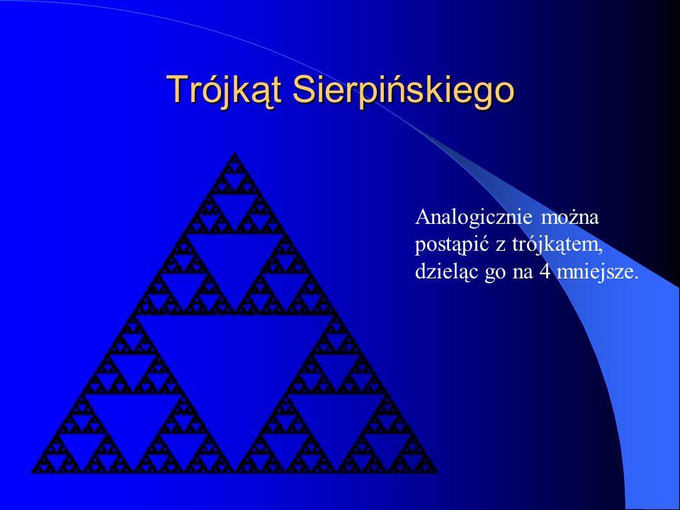 Trójkąt Sierpińskiego Analogicznie można postąpić z trójkątem, dzieląc go na 4 mniejsze.