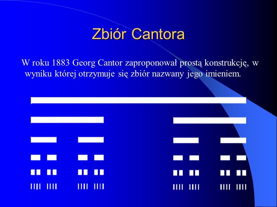 Zbiór Cantora W roku 1883 Georg Cantor zaproponował prostą konstrukcję, w wyniku której otrzymuje się zbiór nazwany jego imieniem.