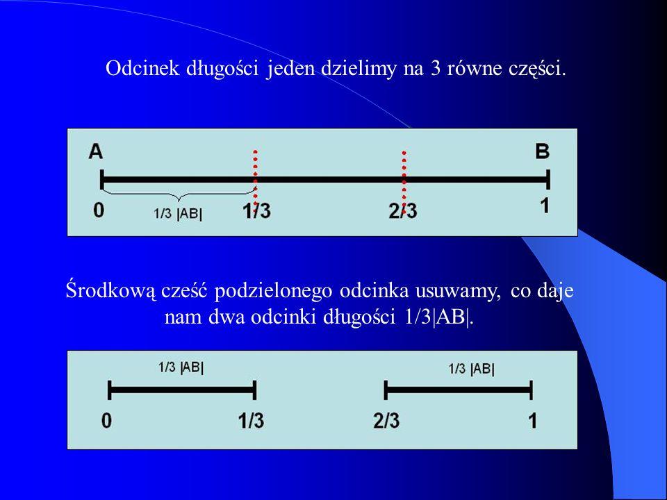 Odcinek długości jeden dzielimy na 3 równe części. Środkową cześć podzielonego odcinka usuwamy, co daje nam dwa odcinki długości 1/3|AB|.