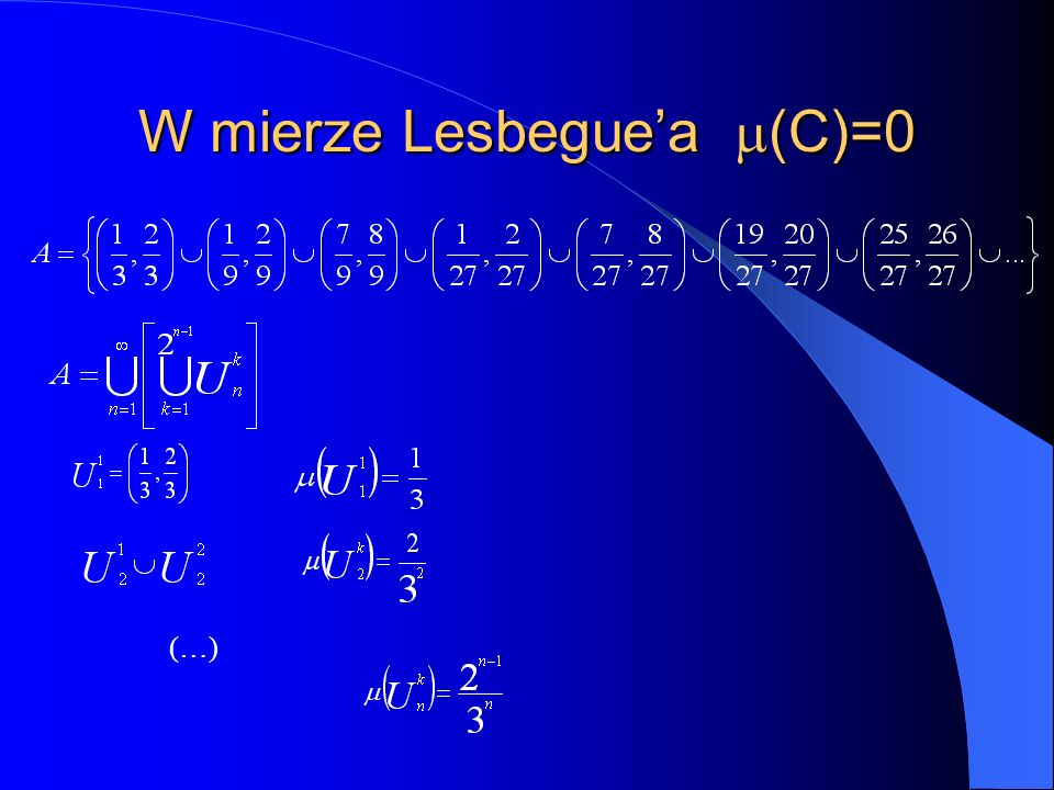 W mierze Lesbeguea (C)=0 (…)