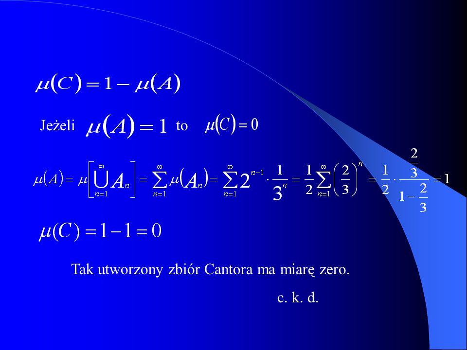 Jeżeli Tak utworzony zbiór Cantora ma miarę zero. c. k. d. to