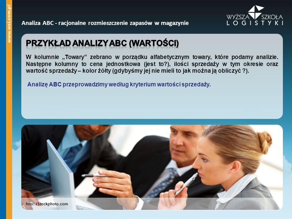 foto: iStockphoto.com Analiza ABC - racjonalne rozmieszczenie zapasów w magazynie