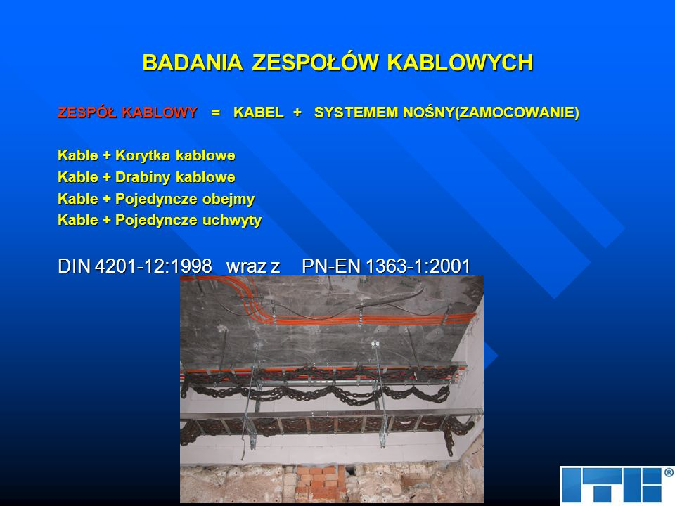 OGNIOCHRONNE KANAŁY KABLOWE KANAŁ KABLOWY = OBUDOWA PŁYTOWA + SYSTEMEM NOŚNY Kanały czterościenne Kanały trójścienne Kanały dwuścienne DIN 4201-12:1998 wraz z PN-EN 1363-1:2001 (prEN 1366-11)