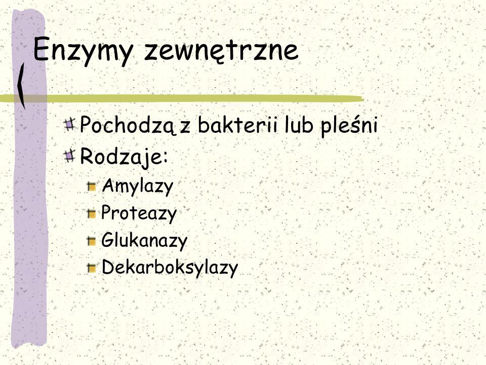 Enzymy zewnętrzne Pochodzą z bakterii lub pleśni Rodzaje: Amylazy Proteazy Glukanazy Dekarboksylazy