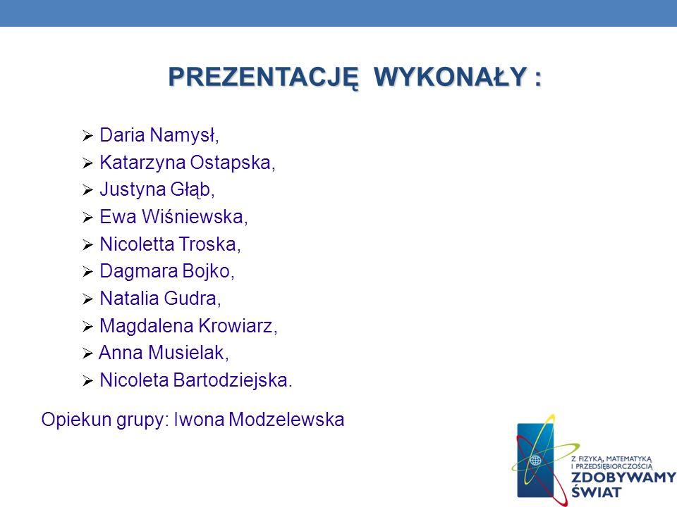 PREZENTACJĘ WYKONAŁY : Daria Namysł, Katarzyna Ostapska, Justyna Głąb, Ewa Wiśniewska, Nicoletta Troska, Dagmara Bojko, Natalia Gudra, Magdalena Krowi