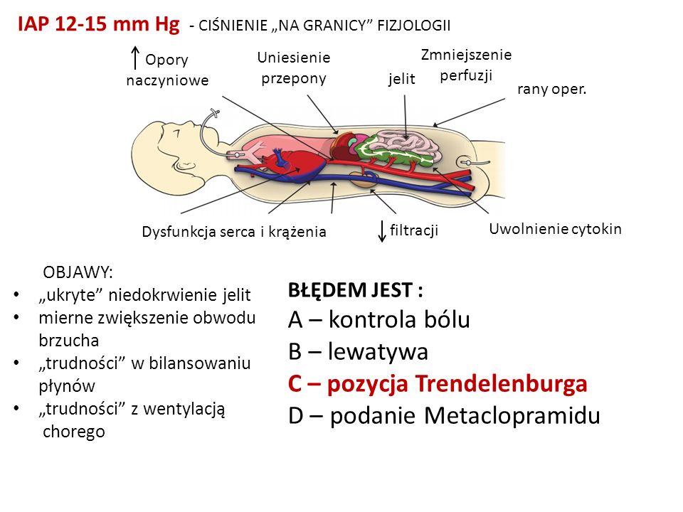 Opory naczyniowe Uniesienie przepony Zmniejszenie perfuzji jelit rany oper. Uwolnienie cytokin filtracji Dysfunkcja serca i krążenia OBJAWY: ukryte ni