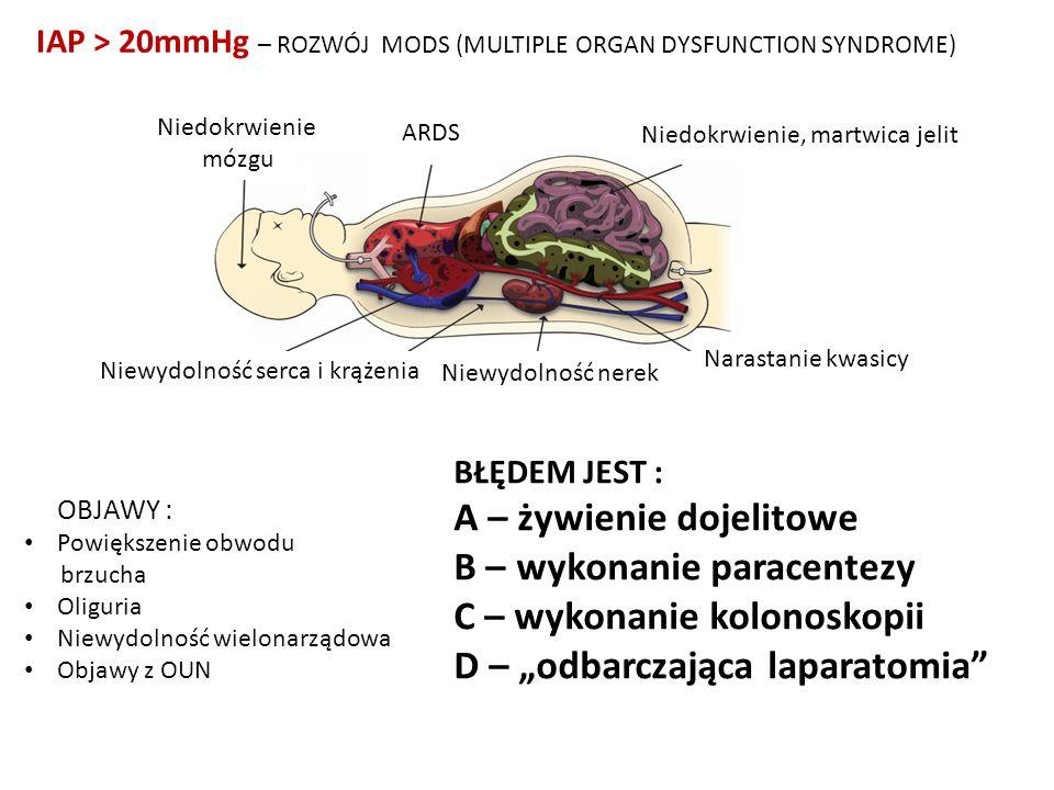 IAP > 20mmHg – ROZWÓJ MODS (MULTIPLE ORGAN DYSFUNCTION SYNDROME) Niedokrwienie mózgu ARDS Niedokrwienie, martwica jelit Narastanie kwasicy Niewydolnoś