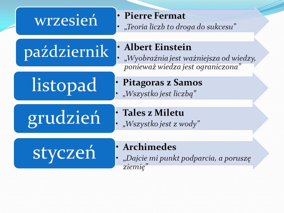 Pierre Fermat Teoria liczb to droga do sukcesu wrzesień Albert Einstein Wyobraźnia jest ważniejsza od wiedzy, ponieważ wiedza jest ograniczona paździe
