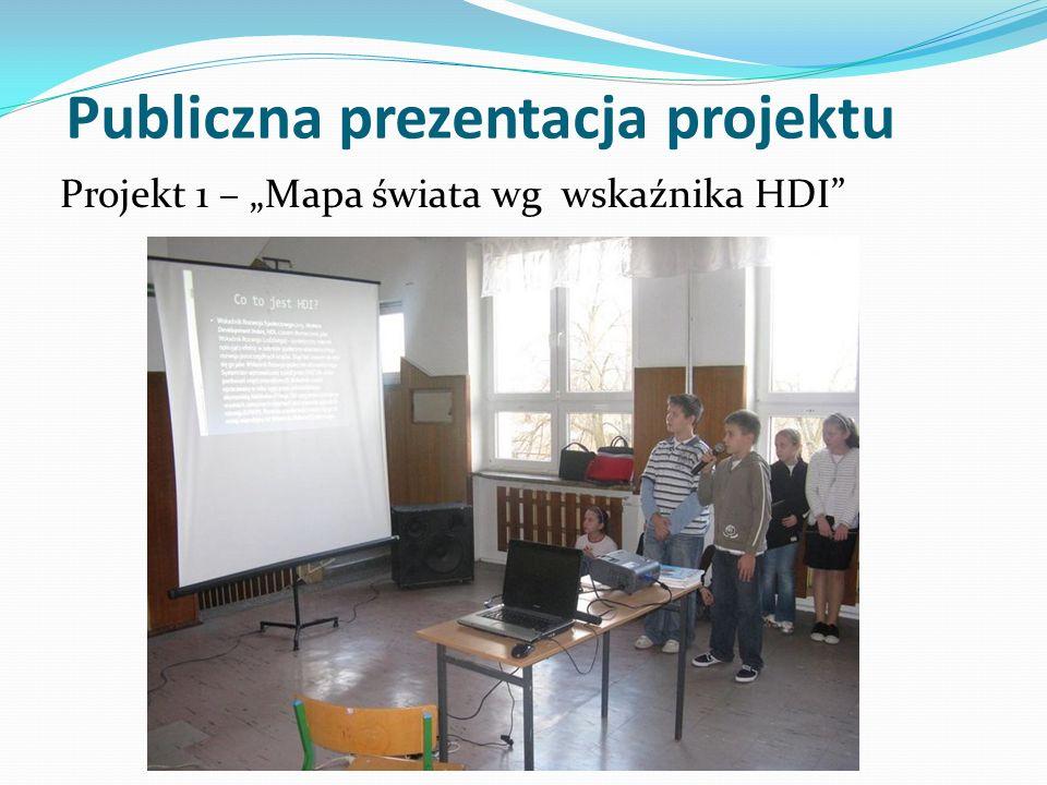 Publiczna prezentacja projektu Projekt 1 – Mapa świata wg wskaźnika HDI