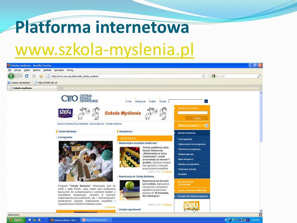 Platforma internetowa www.szkola-myslenia.pl www.szkola-myslenia.pl