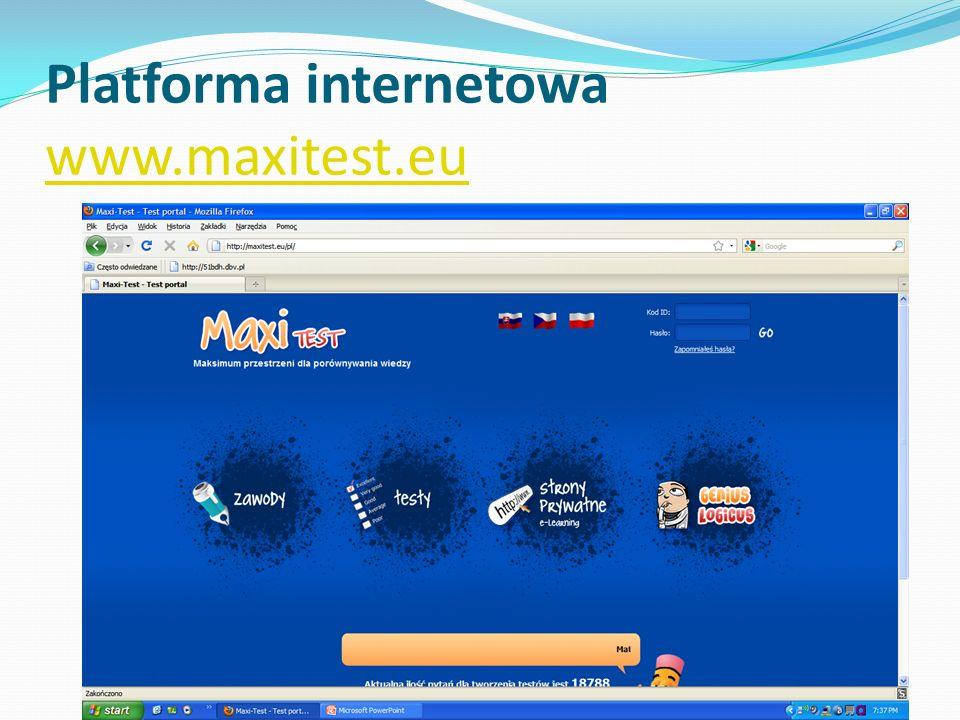 Platforma internetowa www.maxitest.eu www.maxitest.eu