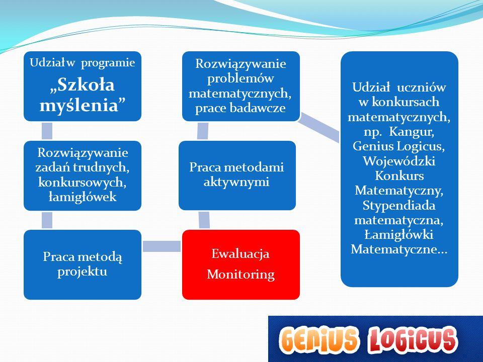 Udział w programie Szkoła myślenia Rozwiązywanie zadań trudnych, konkursowych, łamigłówek Praca metodą projektu Ewaluacja Monitoring Praca metodami ak
