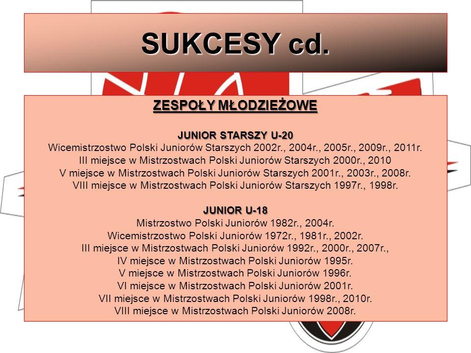 SUKCESY cd. ZESPOŁY MŁODZIEŻOWE JUNIOR STARSZY U-20 Wicemistrzostwo Polski Juniorów Starszych 2002r., 2004r., 2005r., 2009r., 2011r. III miejsce w Mis