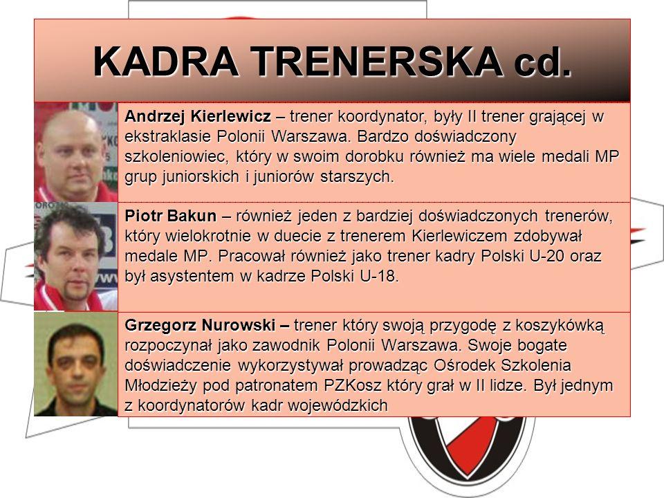 KADRA TRENERSKA cd. Andrzej Kierlewicz – trener koordynator, były II trener grającej w ekstraklasie Polonii Warszawa. Bardzo doświadczony szkoleniowie
