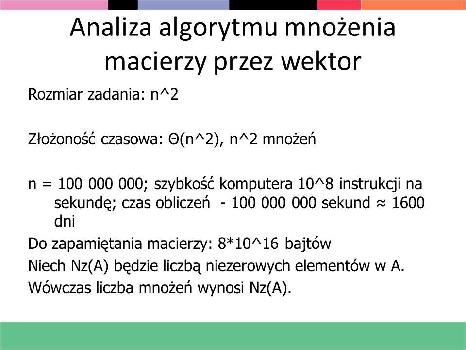 Analiza algorytmu mnożenia macierzy przez wektor Rozmiar zadania: n^2 Złożoność czasowa: Θ(n^2), n^2 mnożeń n = 100 000 000; szybkość komputera 10^8 i