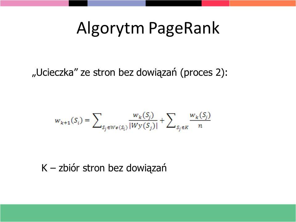 Algorytm PageRank Ucieczka ze stron bez dowiązań (proces 2): K – zbiór stron bez dowiązań