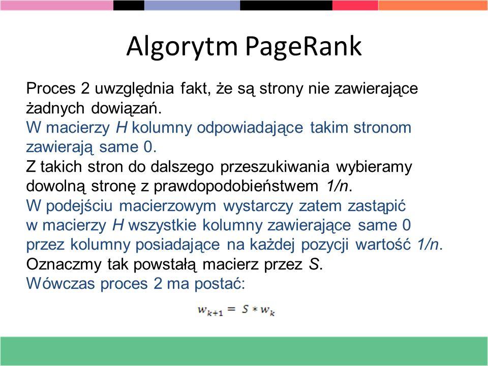 Algorytm PageRank Proces 2 uwzględnia fakt, że są strony nie zawierające żadnych dowiązań. W macierzy H kolumny odpowiadające takim stronom zawierają