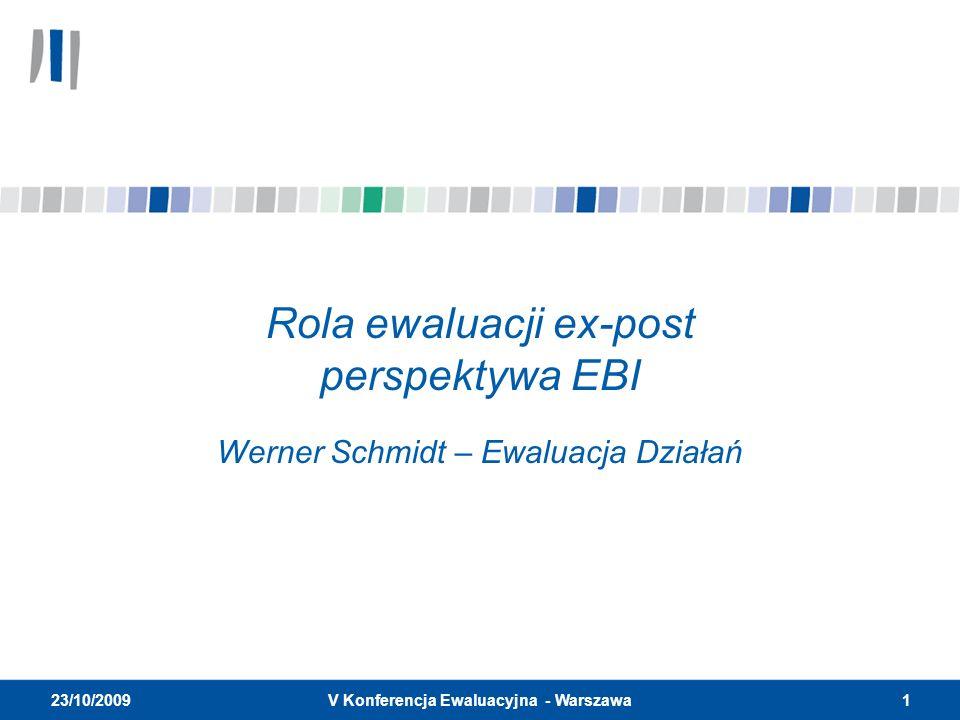 2V Konferencja Ewaluacyjna - Warszawa 23/10/2009 Konspekt prezentacji STRUKTURA EBI, CELE I UDZIELANIE POŻYCZEK EWALUACJA EX-POST I CYKL PROJEKTU Zakres i cele EV (Departament Ewaluacji) Metodologia i kryteria Wpływ na Bank i przyszłe trendy