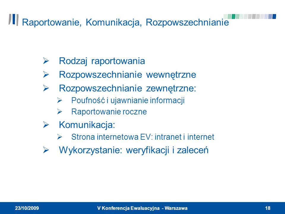 18V Konferencja Ewaluacyjna - Warszawa 23/10/2009 Rodzaj raportowania Rozpowszechnianie wewnętrzne Rozpowszechnianie zewnętrzne: Poufność i ujawnianie informacji Raportowanie roczne Komunikacja: Strona internetowa EV: intranet i internet Wykorzystanie: weryfikacji i zaleceń Raportowanie, Komunikacja, Rozpowszechnianie