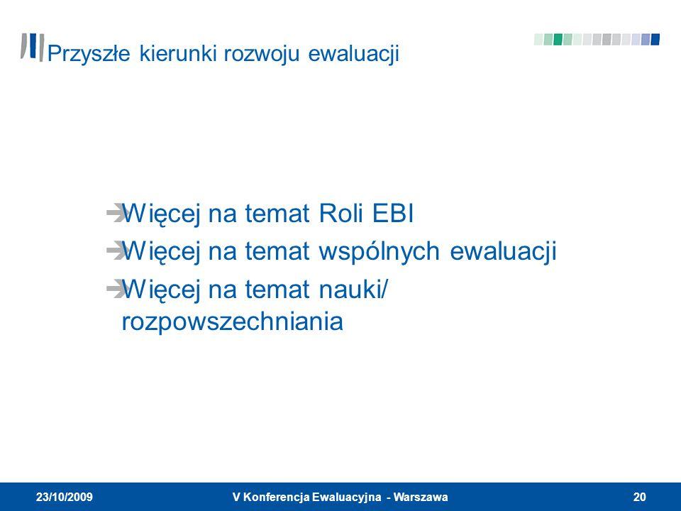 20V Konferencja Ewaluacyjna - Warszawa 23/10/2009 Więcej na temat Roli EBI Więcej na temat wspólnych ewaluacji Więcej na temat nauki/ rozpowszechniania Przyszłe kierunki rozwoju ewaluacji