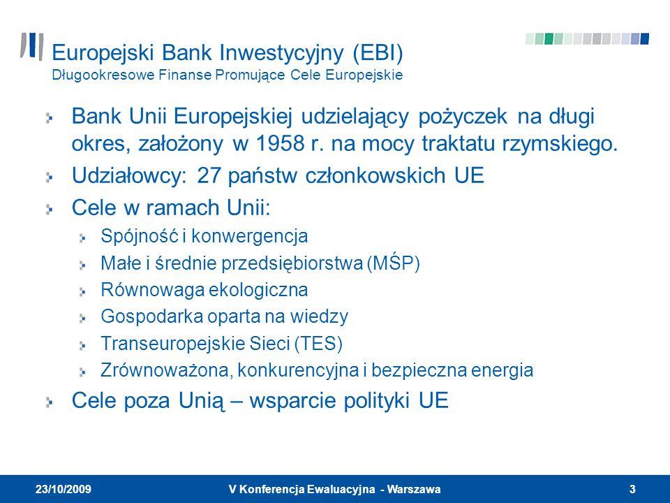 3V Konferencja Ewaluacyjna - Warszawa 23/10/2009 Europejski Bank Inwestycyjny (EBI) Długookresowe Finanse Promujące Cele Europejskie Bank Unii Europejskiej udzielający pożyczek na długi okres, założony w 1958 r.