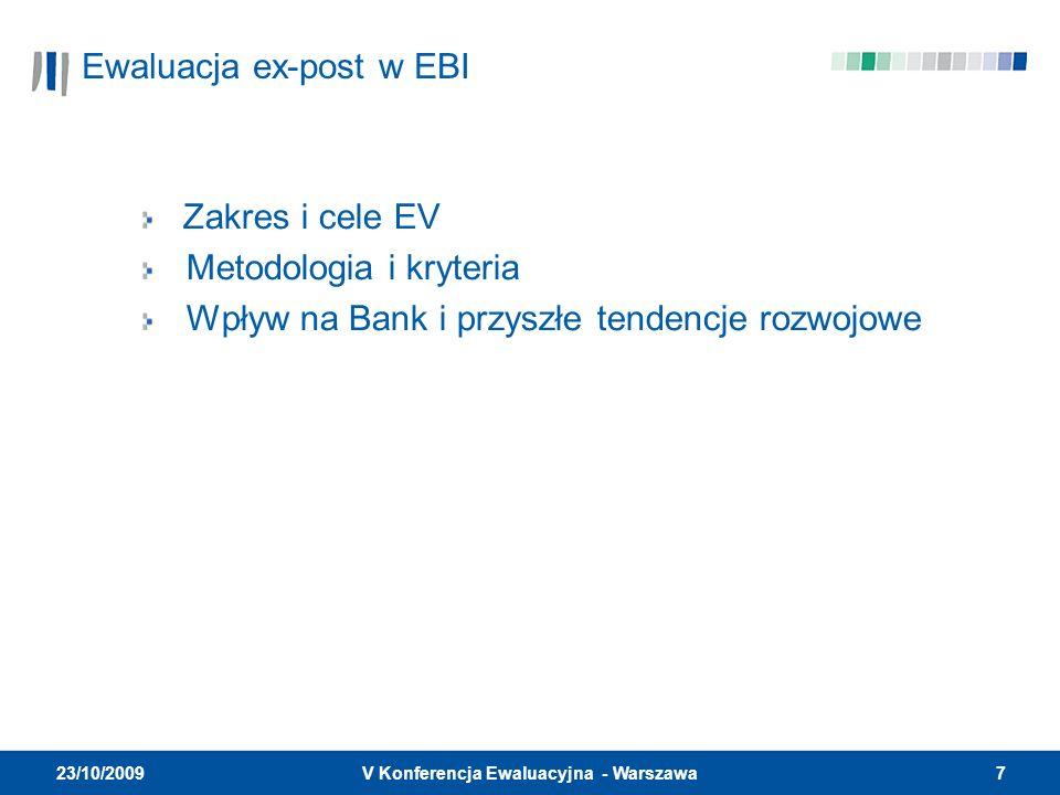7V Konferencja Ewaluacyjna - Warszawa 23/10/2009 Ewaluacja ex-post w EBI Zakres i cele EV Metodologia i kryteria Wpływ na Bank i przyszłe tendencje ro