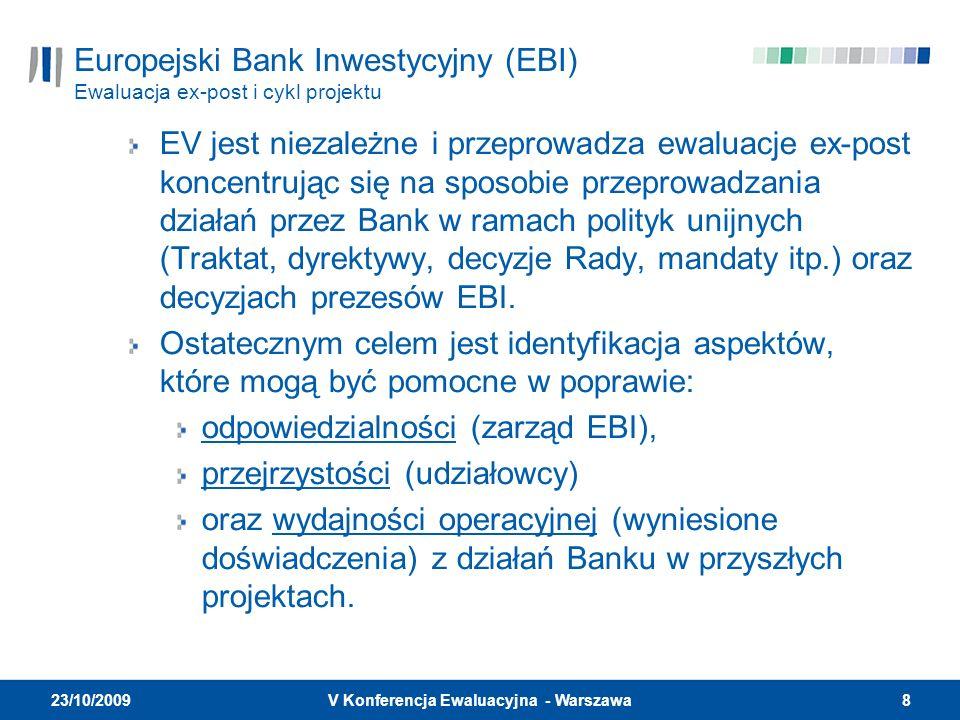 8V Konferencja Ewaluacyjna - Warszawa 23/10/2009 Europejski Bank Inwestycyjny (EBI) Ewaluacja ex-post i cykl projektu EV jest niezależne i przeprowadza ewaluacje ex-post koncentrując się na sposobie przeprowadzania działań przez Bank w ramach polityk unijnych (Traktat, dyrektywy, decyzje Rady, mandaty itp.) oraz decyzjach prezesów EBI.