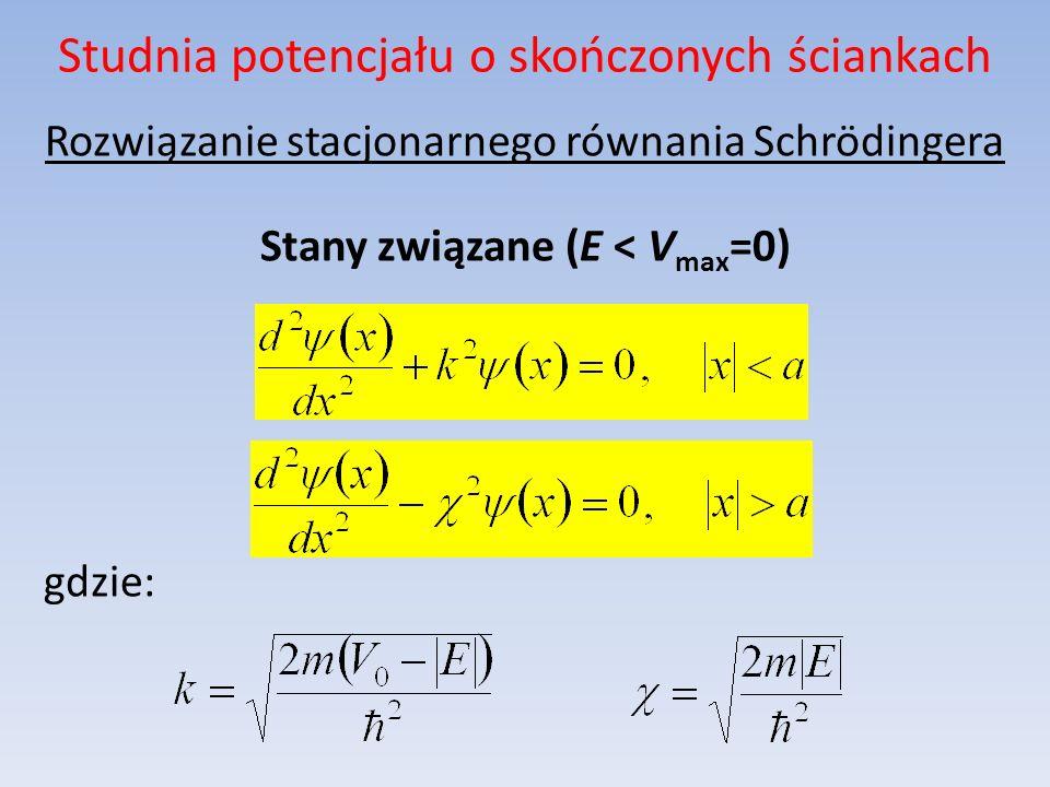 Studnia potencjału o skończonych ściankach Rozwiązanie stacjonarnego równania Schrödingera Stany związane (E < V max =0) gdzie: