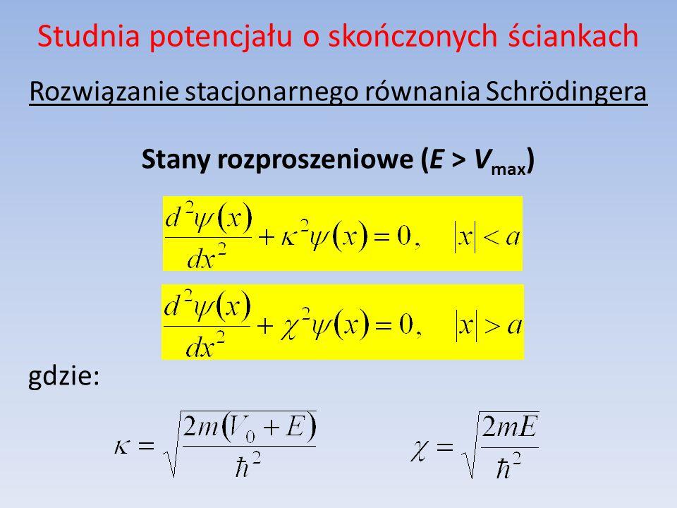 Studnia potencjału o skończonych ściankach Rozwiązanie stacjonarnego równania Schrödingera Stany rozproszeniowe (E > V max ) gdzie: