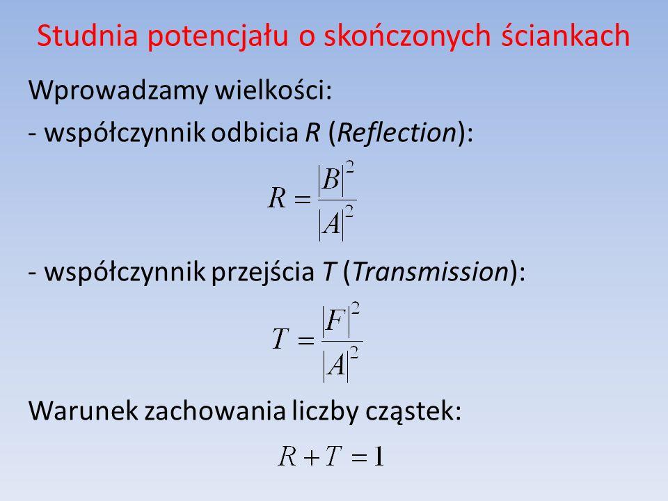 Studnia potencjału o skończonych ściankach Wprowadzamy wielkości: - współczynnik odbicia R (Reflection): - współczynnik przejścia T (Transmission): Wa