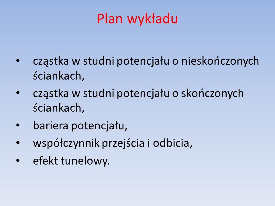 Plan wykładu cząstka w studni potencjału o nieskończonych ściankach, cząstka w studni potencjału o skończonych ściankach, bariera potencjału, współczynnik przejścia i odbicia, efekt tunelowy.