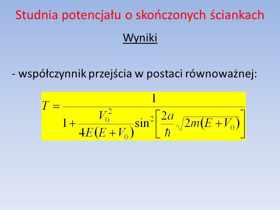 Studnia potencjału o skończonych ściankach Wyniki - współczynnik przejścia w postaci równoważnej: