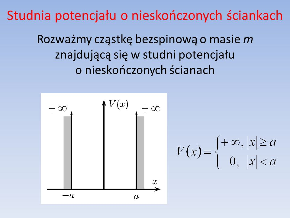 Studnia potencjału o nieskończonych ściankach Własności funkcji falowej związanej z cząstką: energia cząstki jest skończona, więc w studni mogą występować jedynie stany związane, w obszarze musi spełniać stacjonarne równanie Schrödingera, w obszarze musi znikać (siła działająca na cząstkę w pobliżu bariery staje się nieskończona), powinna być ciągła, musi być unormowana.