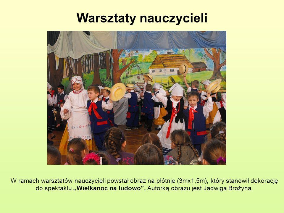 Warsztaty nauczycieli W ramach warsztatów nauczycieli powstał obraz na płótnie (3mx1,5m), który stanowił dekorację do spektaklu,,Wielkanoc na ludowo.