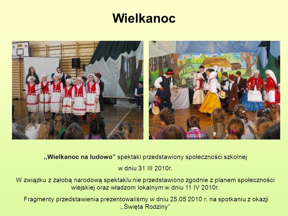 Wielkanoc,,Wielkanoc na ludowo spektakl przedstawiony społeczności szkolnej w dniu 31 III 2010r. W związku z żałobą narodową spektaklu nie przedstawio