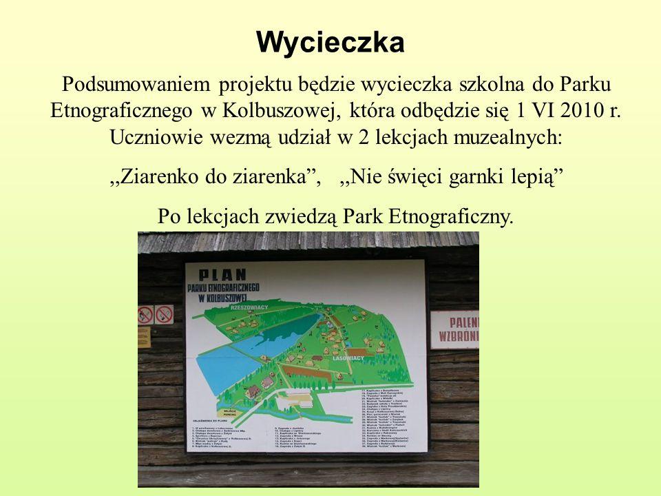 Wycieczka Podsumowaniem projektu będzie wycieczka szkolna do Parku Etnograficznego w Kolbuszowej, która odbędzie się 1 VI 2010 r. Uczniowie wezmą udzi