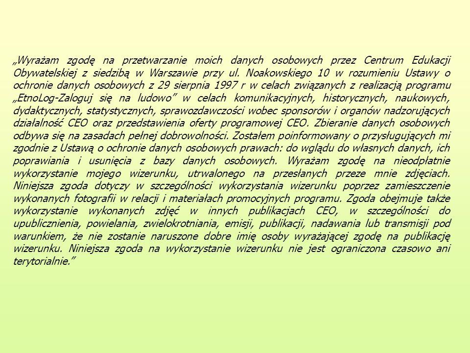 Wyrażam zgodę na przetwarzanie moich danych osobowych przez Centrum Edukacji Obywatelskiej z siedzibą w Warszawie przy ul. Noakowskiego 10 w rozumieni