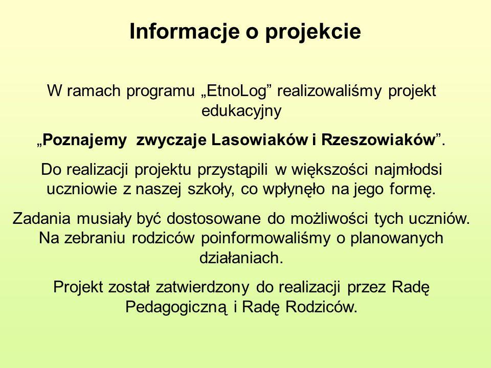 Informacje o projekcie W ramach programu EtnoLog realizowaliśmy projekt edukacyjny Poznajemy zwyczaje Lasowiaków i Rzeszowiaków. Do realizacji projekt