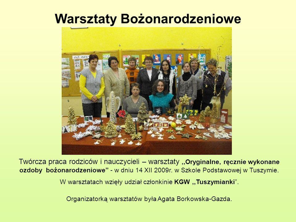 Warsztaty Bożonarodzeniowe Twórcza praca rodziców i nauczycieli – warsztaty,,Oryginalne, ręcznie wykonane ozdoby bożonarodzeniowe - w dniu 14 XII 2009
