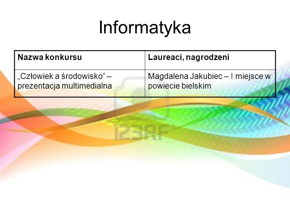 Informatyka Nazwa konkursuLaureaci, nagrodzeni Człowiek a środowisko – prezentacja multimedialna Magdalena Jakubiec – I miejsce w powiecie bielskim