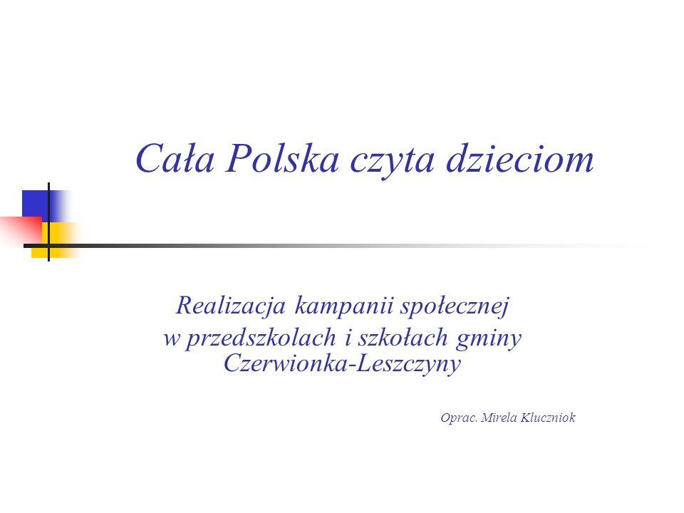 W gminie Czerwionka-Leszczyny kampania społeczna Cała Polska czyta dzieciom prowadzona jest w 18 placówkach: przedszkolach, w tym w przedszkolu z oddziałami integracyjnymi, szkołach podstawowych, zespole szkół specjalnych i gimnazjum.