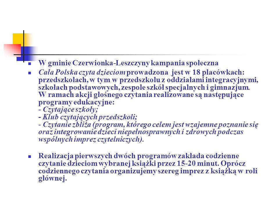 W gminie Czerwionka-Leszczyny kampania społeczna Cała Polska czyta dzieciom prowadzona jest w 18 placówkach: przedszkolach, w tym w przedszkolu z oddz