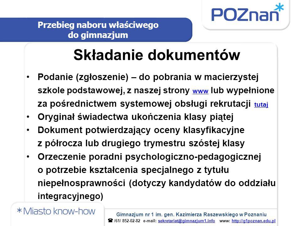 Uczniowie z obwodu Do gimnazjum przyjmowani są z urzędu.