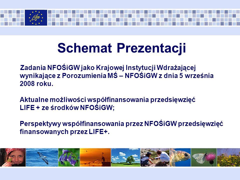 NFOŚiGW - Krajowa Instytucja Wdrażająca LIFE+ Funkcje informacyjne informowanie za pomocą środków masowego przekazu o terminach naboru, zasadach i miejscu składania wniosków o dofinansowanie z Instrumentu Finansowego LIFE+ oraz zasadach pozyskania krajowych środków publicznych stanowiących uzupełnienie wkładu własnego dla przedsięwzięć współfinansowanych przez Instrument Finansowy LIFE+; publikowanie na stronie internetowej Krajowej Instytucji Wdrażającej listy krajowych priorytetów rocznych przygotowanych przez Krajową Instytucję Pośredniczącą (Ministerstwo Środowiska); opracowywanie i rozpowszechnianie materiałów informacyjnych, podręczników, organizacja szkoleń i warsztatów dla wnioskodawców i beneficjentów;