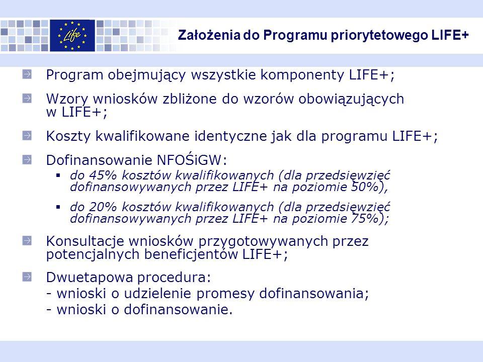 Program obejmujący wszystkie komponenty LIFE+; Wzory wniosków zbliżone do wzorów obowiązujących w LIFE+; Koszty kwalifikowane identyczne jak dla programu LIFE+; Dofinansowanie NFOŚiGW: do 45% kosztów kwalifikowanych (dla przedsięwzięć dofinansowywanych przez LIFE+ na poziomie 50%), do 20% kosztów kwalifikowanych (dla przedsięwzięć dofinansowywanych przez LIFE+ na poziomie 75%); Konsultacje wniosków przygotowywanych przez potencjalnych beneficjentów LIFE+; Dwuetapowa procedura: - wnioski o udzielenie promesy dofinansowania; - wnioski o dofinansowanie.