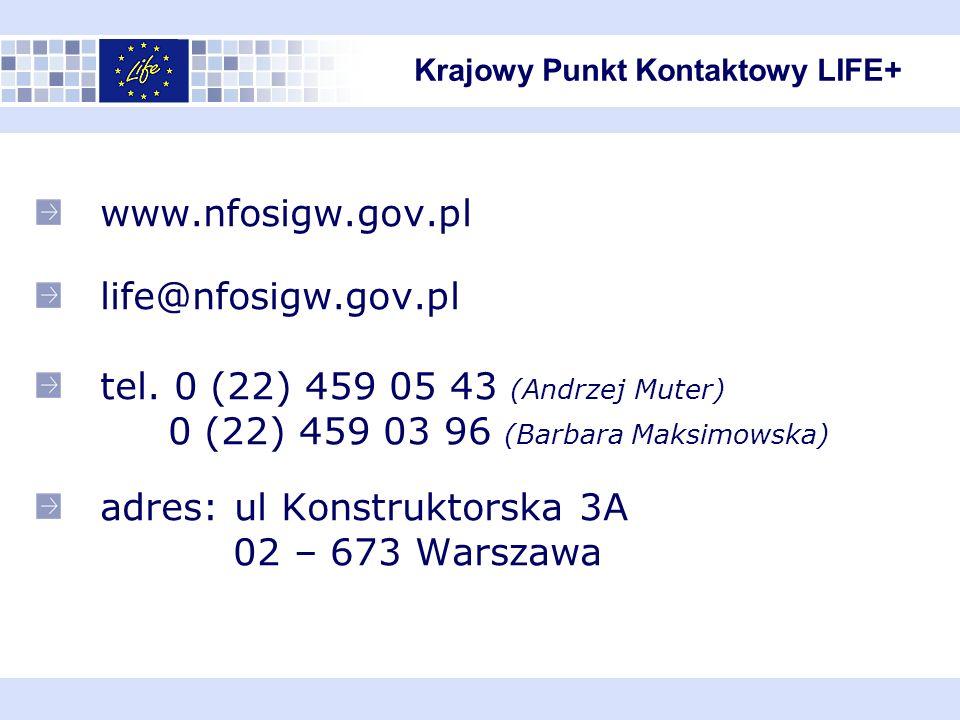 www.nfosigw.gov.pl life@nfosigw.gov.pl tel.