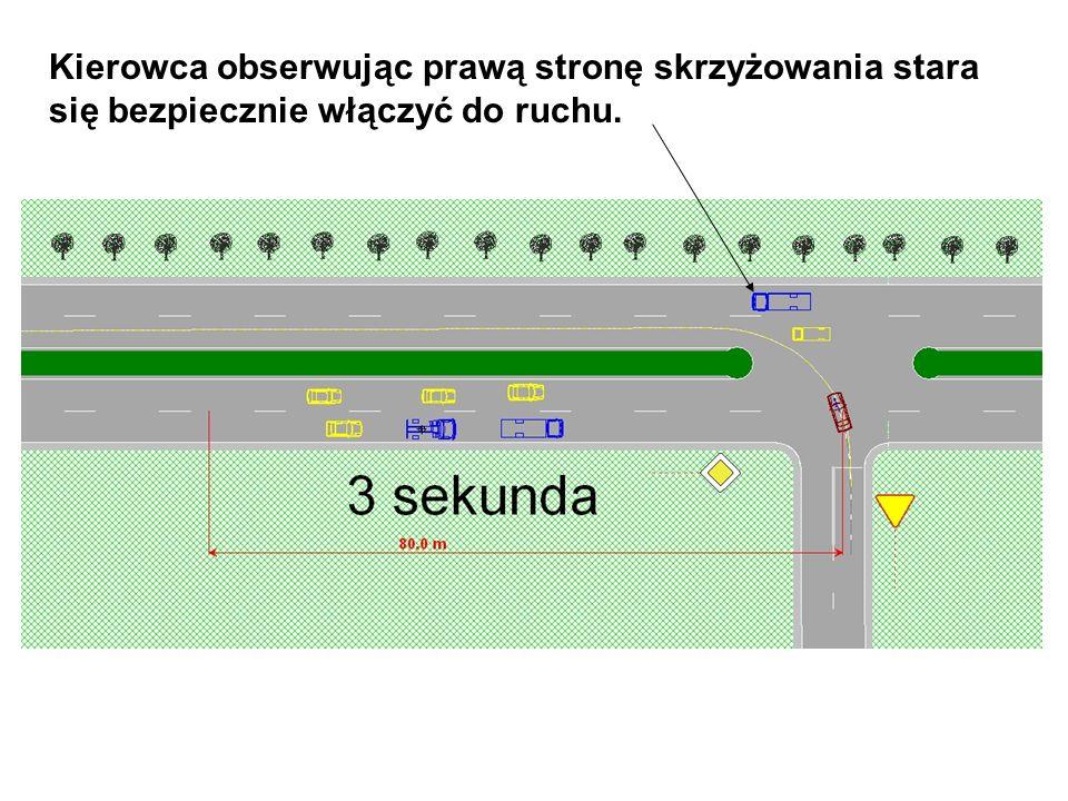 Manewr włączenia się do ruchu kierowcy samochodu A, jadącego z ulicy podporządkowanej, przebiegł bezpiecznie.