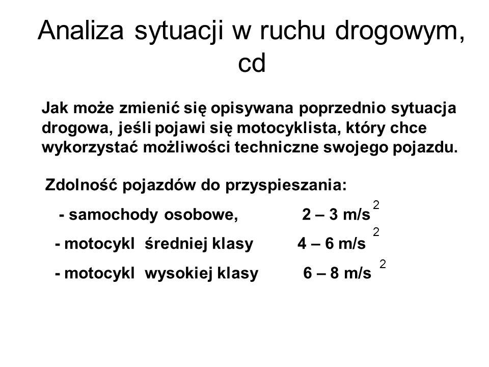 Analiza sytuacji w ruchu drogowym, cd Jak może zmienić się opisywana poprzednio sytuacja drogowa, jeśli pojawi się motocyklista, który chce wykorzysta